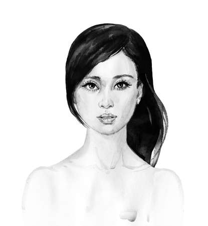 Watercolor asian young woman. Hand drawn portrait of beauty girl. Painting fashion illustration on white background
