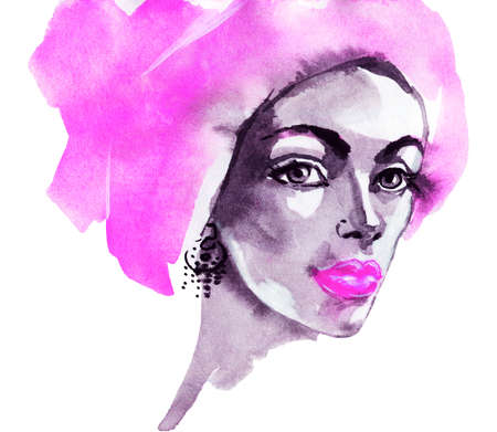 Watercolor beauty young woman. Hand drawn portrait of african lady. Painting fashion illustration on white background Stockfoto