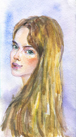 Watercolor beauty young woman. Hand drawn portrait of lady. Painting fashion illustration on blue background