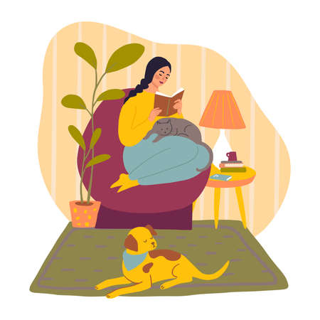 Cute girl spending time with dog and cat. Flat illustration