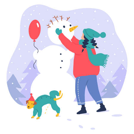 Cute girl walking with dog. Flat winter illustration Illustration