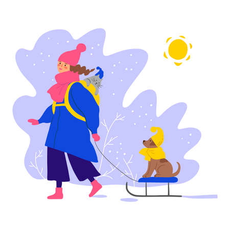 Cute girl walking with dog and cat. Flat winter illustration Illustration