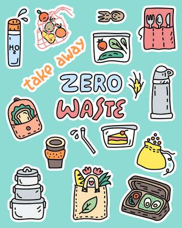 Zero waste doodle stickers, take away symbols Vektorové ilustrace