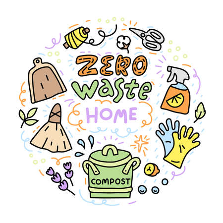 Zero waste illustration with objects for home, cleaning