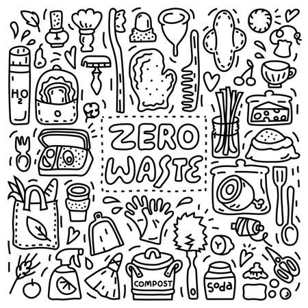 Collection of Zero Waste objects. Black and white doodle style illustration with organic symbols. Eco-friendly lifestyle