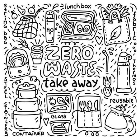 Zero waste outline illustration with take away objects