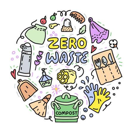Zero waste illustration, doodle style, circle concept Vectores