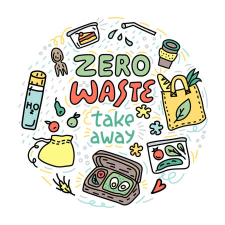 Colorful doodle style illustration with take away objects. Zero waste circle concept. Eco friendly symbols