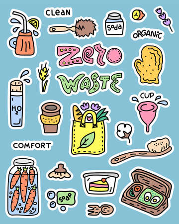 Collection of objects for stickers and patches. Zero waste set of illustrations. Cartoon doodle style Vektorové ilustrace