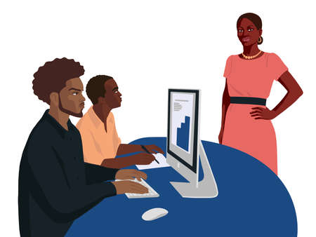 Flat hand drawn people in the office, young african lady boss, business portrait 矢量图片