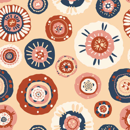 Seamless pattern with floral ornament, flat hand drawn illustration Vector Illustration