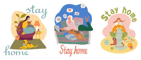 Cute girl spending at home. Stay home, quarantine concept. Flat illustration