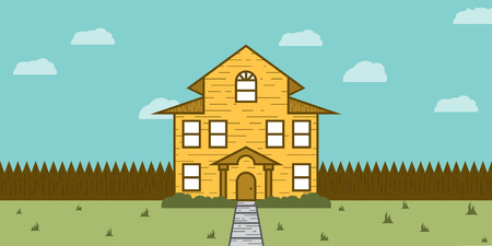 yard sale: A beautiful house or cabin shown from the front yard. This real estate for sale scene is perfect for a real estate agency or agent looking for a colorful, flat, image to help make their twitter or facebook post pop a little more. Illustration
