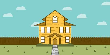 Een mooi huis of een hut blijkt uit de voortuin. Dit vastgoed te koop scene is perfect voor een makelaar of tussenpersoon op zoek naar een kleurrijke, vlak, imago te helpen hun twitter of facebook bericht pop een beetje meer.