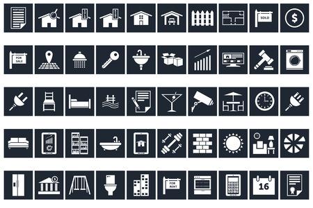 50 Real Estate Icons  イラスト・ベクター素材