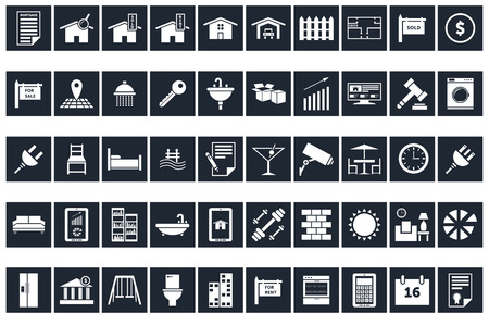 50 Real Estate Icons Vettoriali