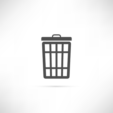 cesto basura: Trash basket icon in simple outline design.