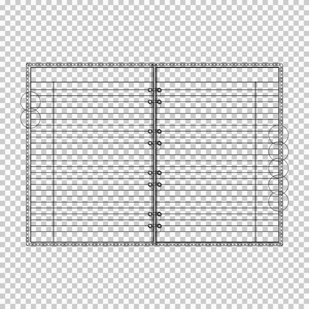 draft: Draft of Blank lined opened notebook. EPS10 vector.