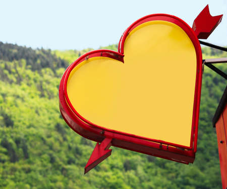 brasov: Blank heart sign, Brasov Romania Stock Photo
