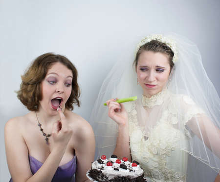 strapless: Bride trying to diet is tempted by bridesmaid
