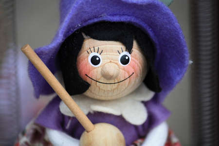 Witch puppet with purple hat and broom for sale Budapest, Hungary
