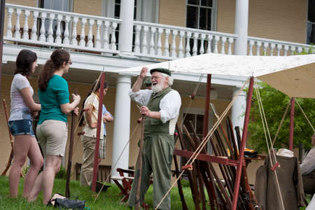 a war historian: Warrenton, Virginia, USA-May 10, 2014  Living historian participating in the War of 1812 Commemoration in Warrenton, Virginia  Editorial