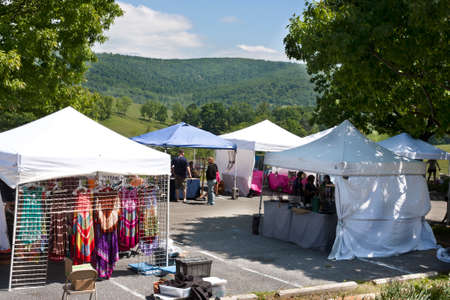Delaplane, Virginia, USA-May 24, 2014  Vendors tents overlooking view at the Delaplane Strawberry Festival at Sky Meadows State Park in Delaplane, Virginia  Editorial