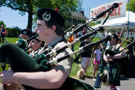 Delaplane, Virginia, USA-May 24, 2014  City of Winchester Pipes and Drums performing at the Delaplane Strawberry Festival at Sky Meadows State Park in Delaplane, Virginia  Editorial