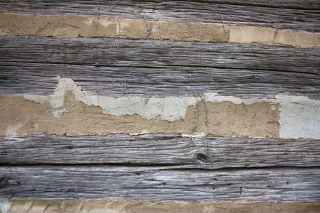 Close-up of a rough log cabin wall texture Stock Photo