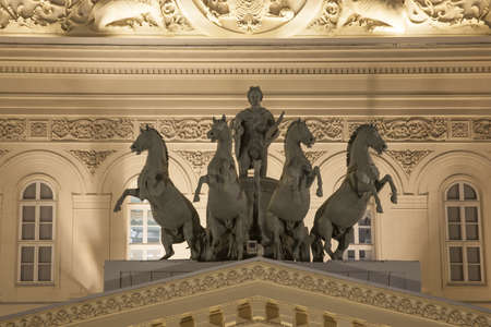 pediment: Bronze horses quadriga on The State Academic Bolshoi Theatre of Russia pediment after renovation