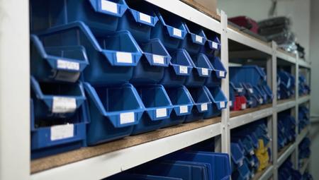 Warehouse Blue Boxes Factory Store Shelfs Descriptions Zdjęcie Seryjne
