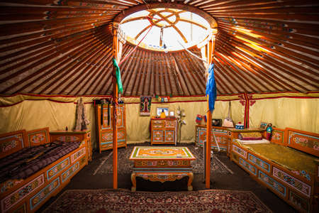 round chairs: Traditional colorful yurta interior from the nomadic people in Kalmykia