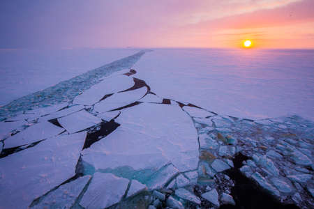 a trace from the icebreaker against the background of the Arctic pink sunset. Expedition to the North Pole Stock Photo
