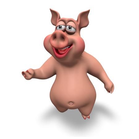 Cartoon 3D Pig Illustration