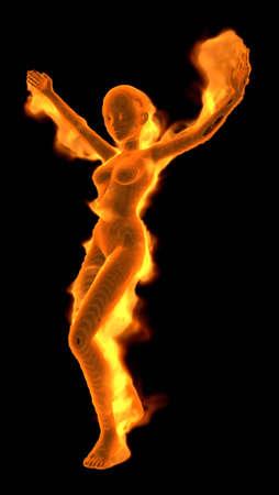 Fiery Girl - 3D illustration Cartoon Character