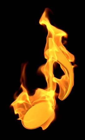 Burning Musical Symbol - 3D illustration Cartoon Fire