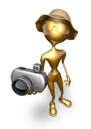 Gold Man Show - Cartoon 3D Character 스톡 콘텐츠