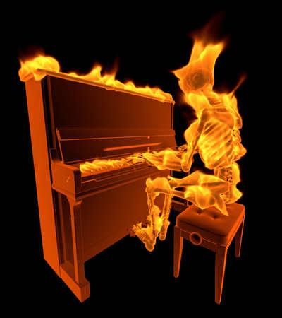 Burning Skeleton - 3D illustration Cartoon Character