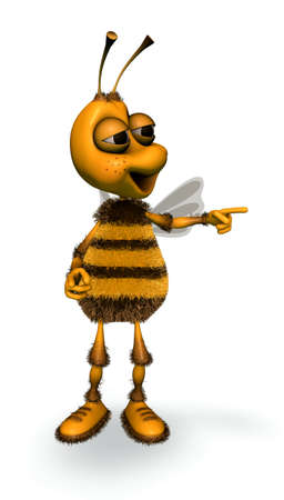 Fun Bee - Cartoon Show 3D Character 스톡 콘텐츠