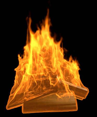 Burning Bonfire - 3D illustration Cartoon Fire