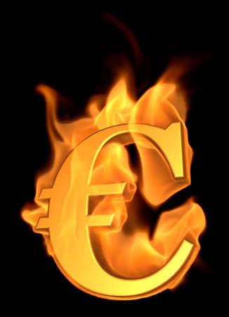Burning Euro Symbol - 3D illustration Cartoon Fire