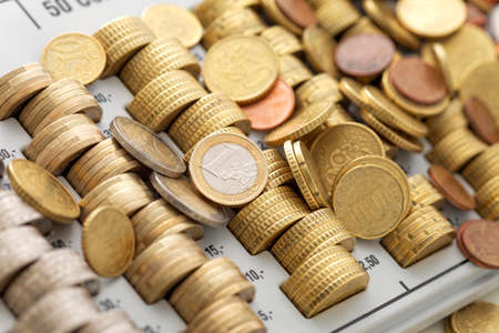 european union currency: Uni�n Europea de divisas, bandeja de monedas Foto de archivo