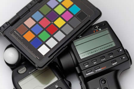 checker: Spot meter, flash meter and color checker scale for professional photography and cinematography Stock Photo