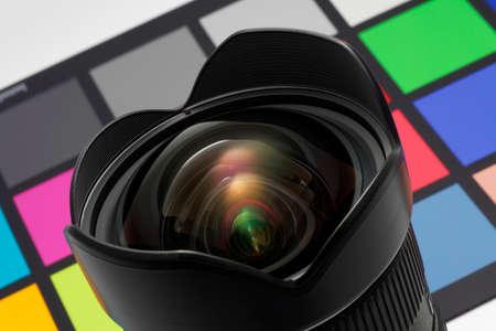 Digital rectilinear ultrawide zoom  Color test target in background