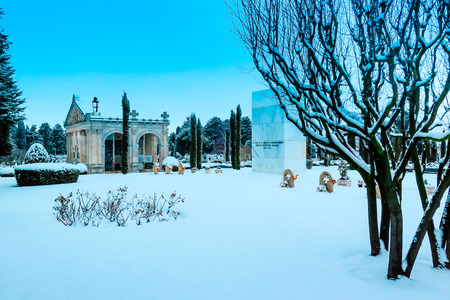 Snowing in the cemetery St José. Burgos, Spain photo