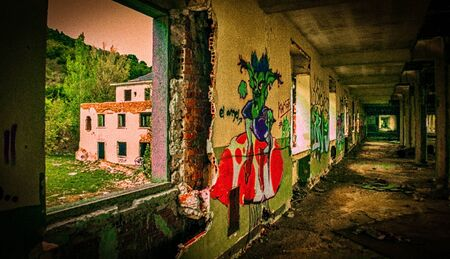 sanitarium: View of one of the long corridors of an abandoned hospital details of all graffiti Editorial