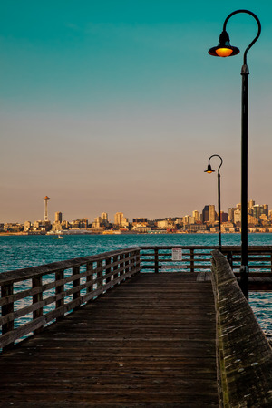 View of Seattle from a small pier Stock Photo