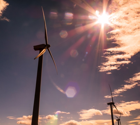 windy energy: Wind energy, new source of clean energy and nonpolluting Stock Photo