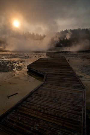 therapy geothermal: Description of a small thermal lake, and observing its steam