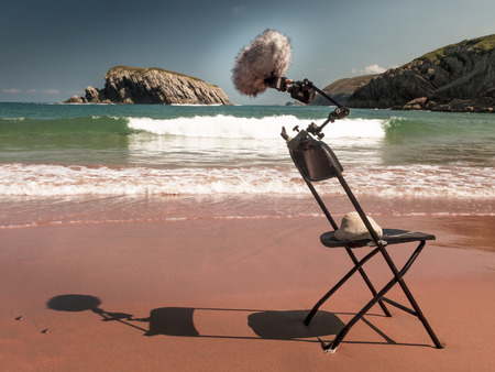 micro recording: Microphone on the shore, recording the sound of the sea